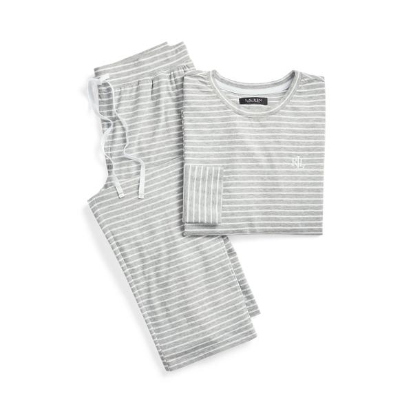 로렌 랄프로렌 파자마 세트 Lauren Striped Cotton Blend PJ Set,Heather Stripe