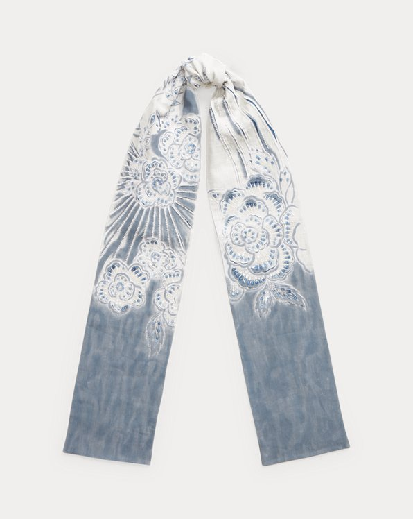 Floral Embroidered Linen Oblong Scarf