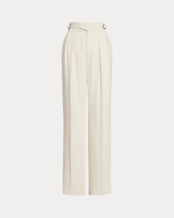 Kory Belted Wool Crepe Trouser