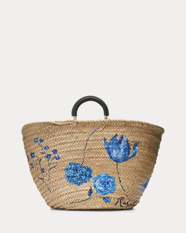 Hand-Painted Palm-Leaf Tote Bag