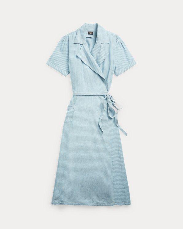 Indigo Linen-Cotton Wrap Dress
