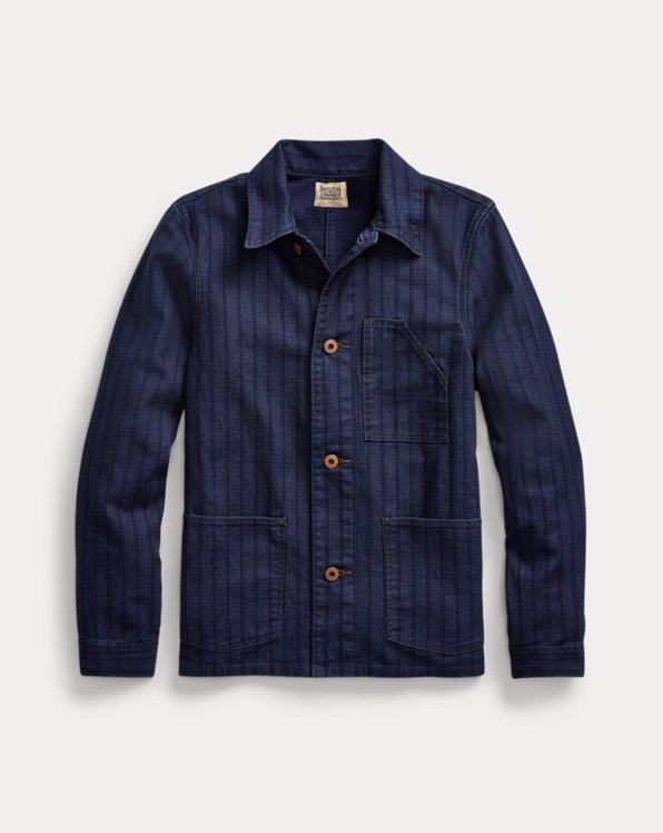 Indigo Striped Twill Chore Jacket