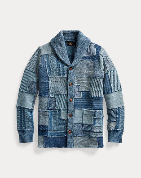 Indigo Patchwork Cotton-Linen Cardigan