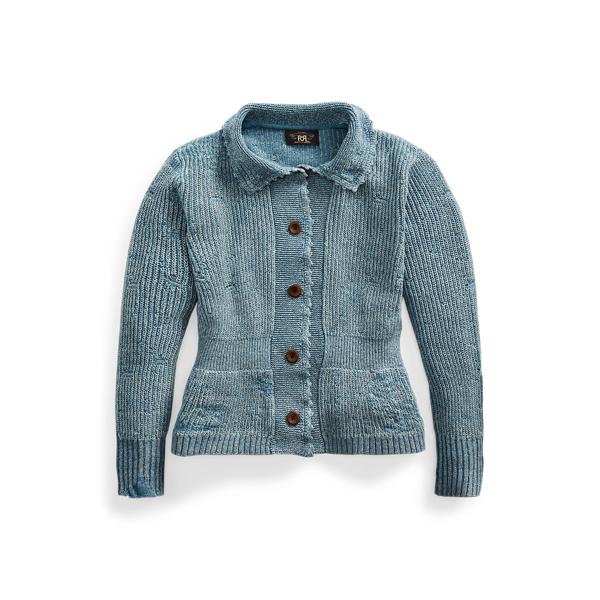폴로 랄프로렌 Polo Ralph Lauren Repaired Indigo Cotton Linen Cardigan
