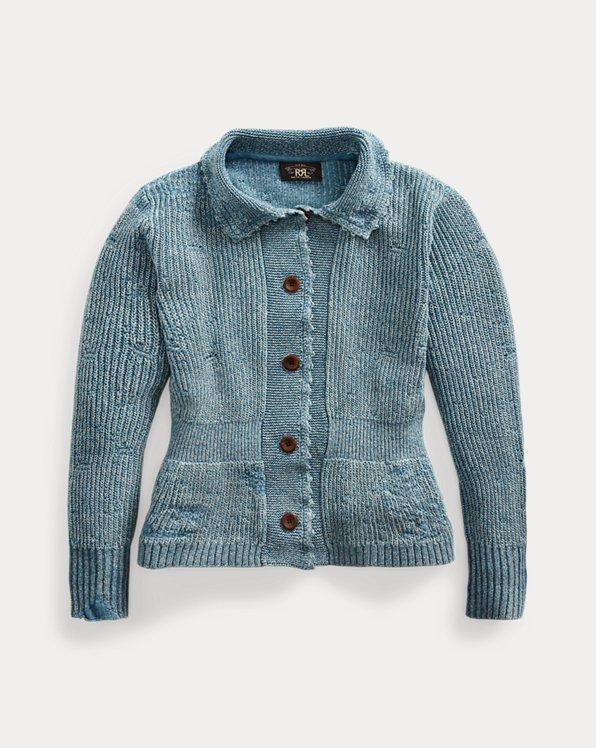 Repaired Indigo Cotton-Linen Cardigan