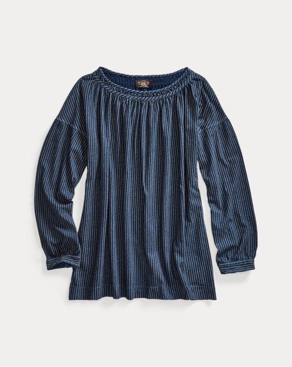 Indigo Cotton-Linen Jersey Blouse