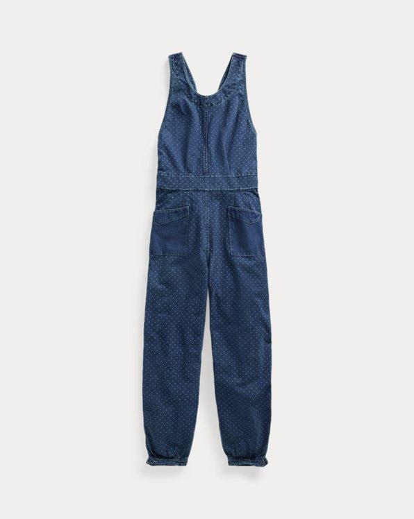 Polka-Dot Indigo Jersey Jumpsuit