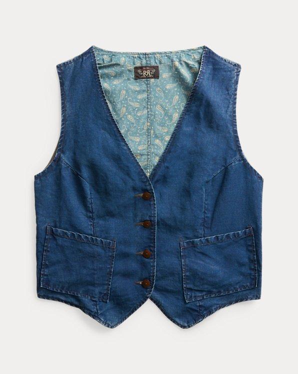 Indigo Slub Cotton Calico-Back Vest
