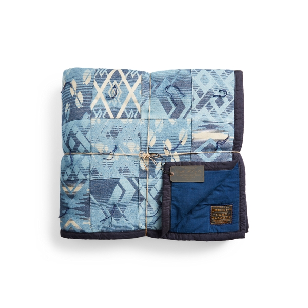 Double Rl Limited-edition Indigo Patchwork Quilt In Blue
