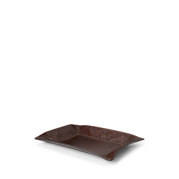 Hand-Tooled Leather Tray