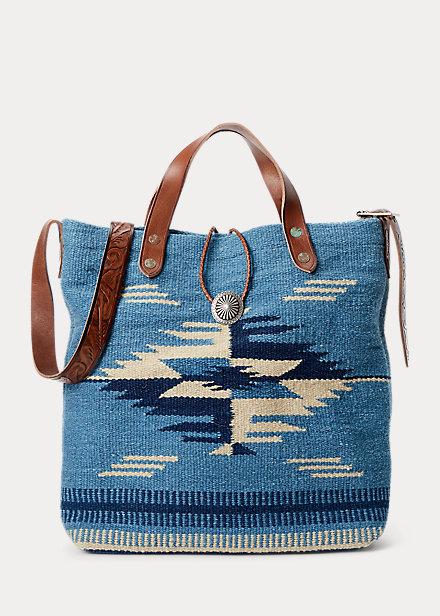Polo Ralph Lauren Handwoven Indigo Jacquard Bag