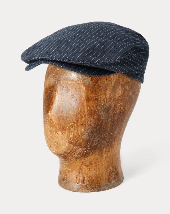 Indigo Striped Herringbone Driver's Cap