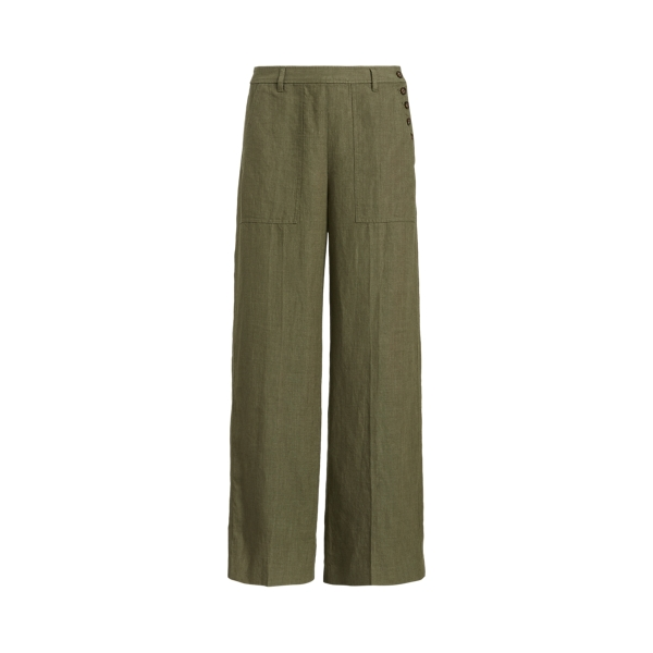 Ralph Lauren Buttoned-placket Linen Pant In Basic Olive