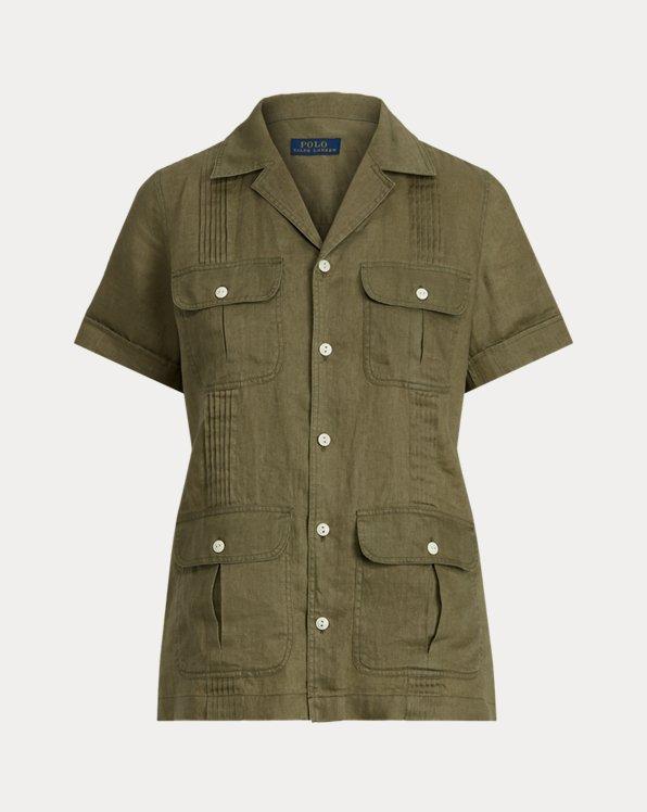 Chemise à plis piqués en lin