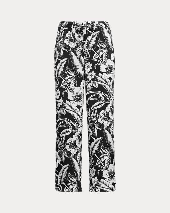 Satin Floral Wide-Leg Trouser