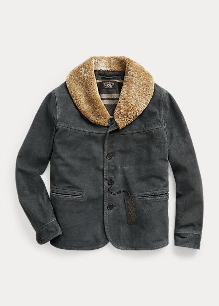 Polo Ralph Lauren Shearling Collar Indigo Suede Jacket