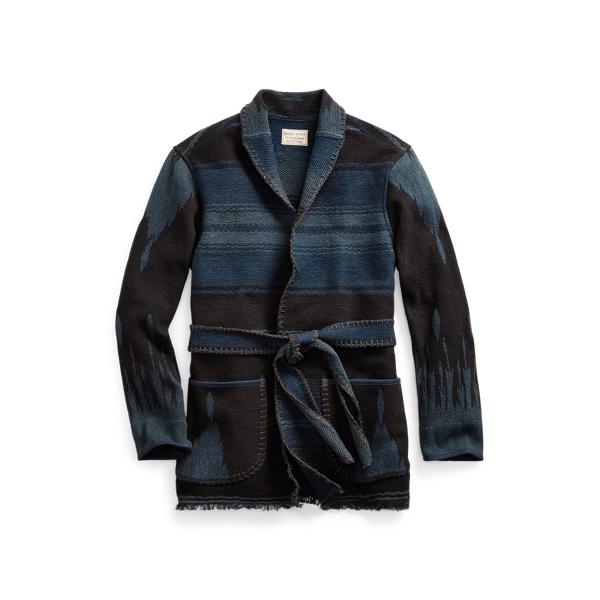 Belted Indigo Jacquard Jacket