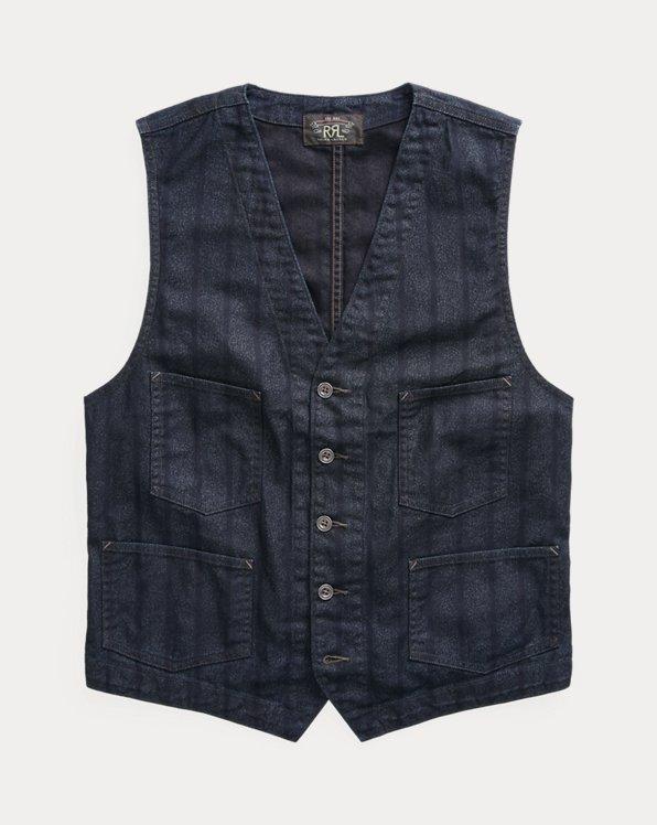 Indigo Striped Twill Vest