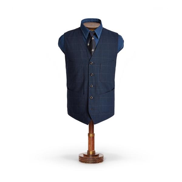 Double Rl Indigo Windowpane Vest In Indigo/ Grey Window Pane