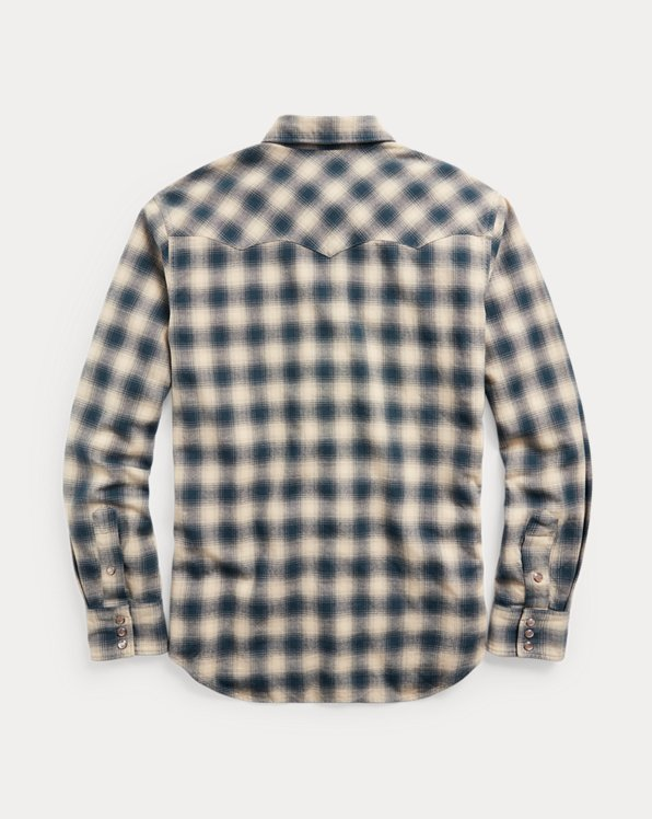 Slim Fit Plaid Brushed Western Shirt