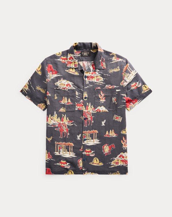 Print Linen-Blend Camp Shirt