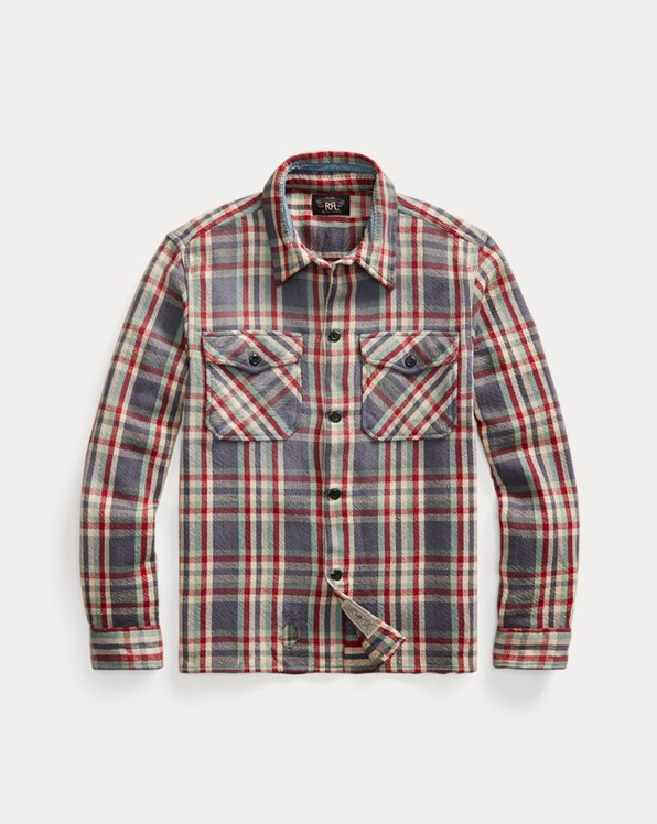 Distressed Plaid Twill Overshirt