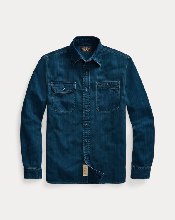 Embroidered Indigo Herringbone Workshirt