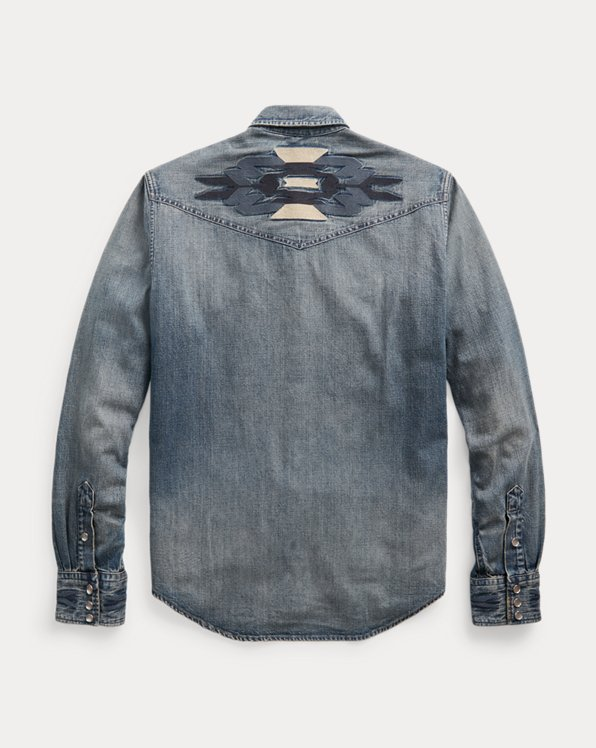 Slim Fit Embroidered Denim Western Shirt