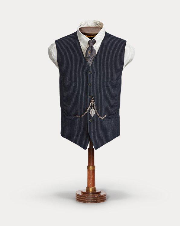 Indigo Striped Herringbone Vest