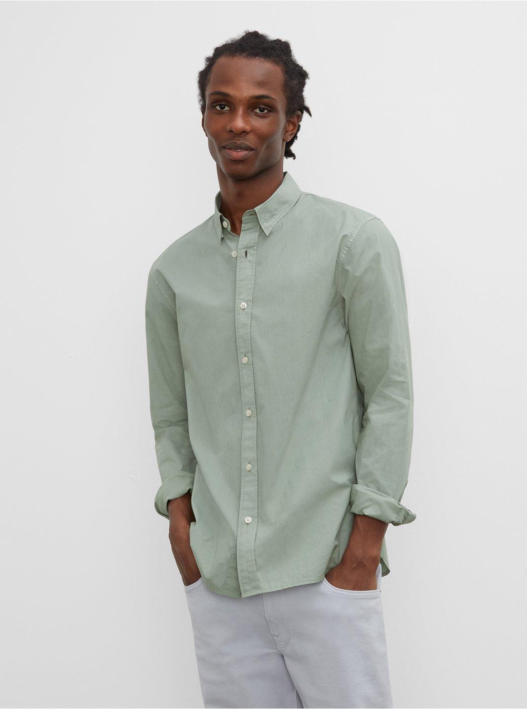 클럽 모나코 맨 티 다이 포플린 셔츠 - 그린 Club Monaco Long Sleeve Tea Dyed Poplin Shirt 577577