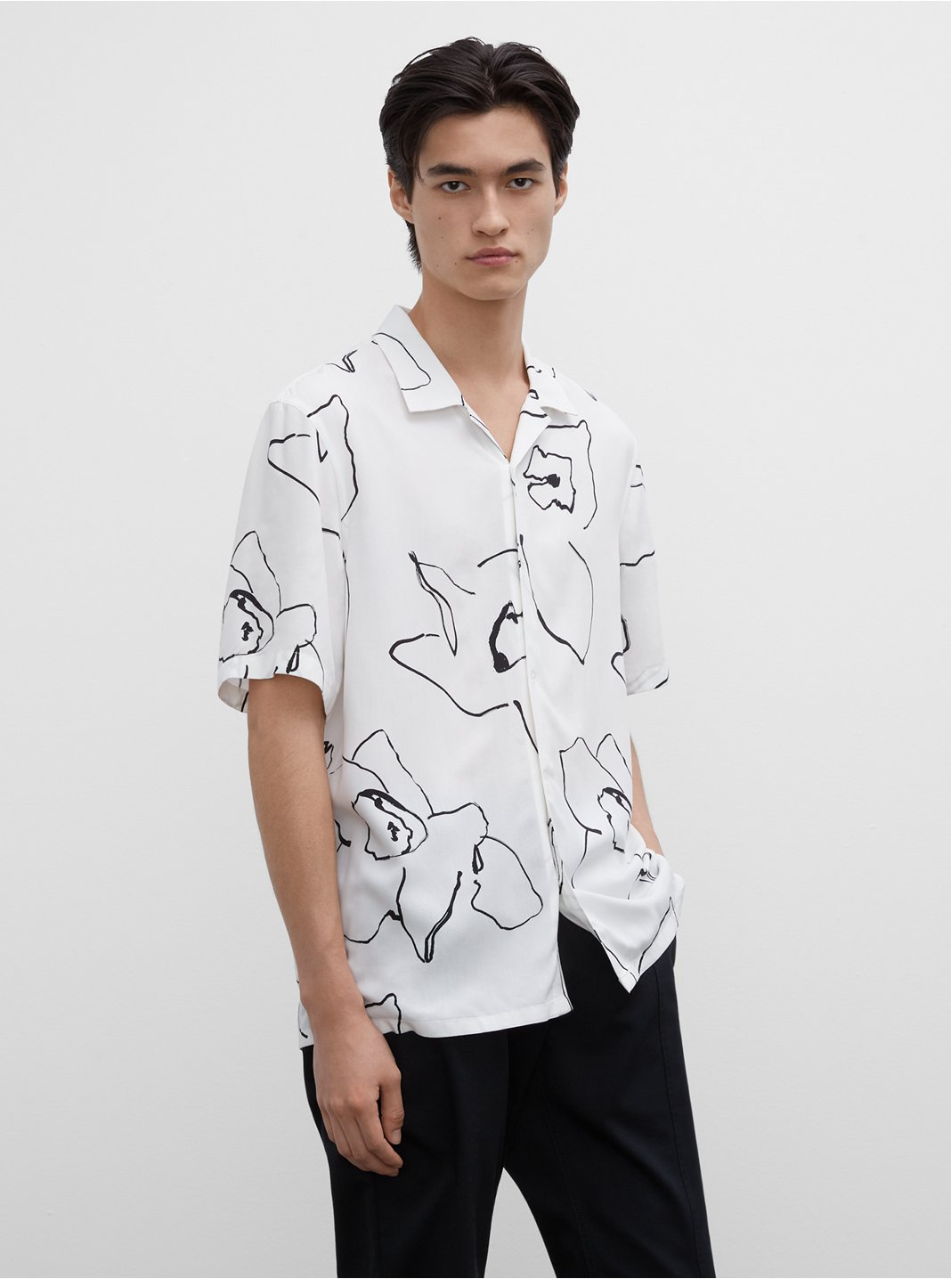 Short Sleeve Abstract Floral Shirt