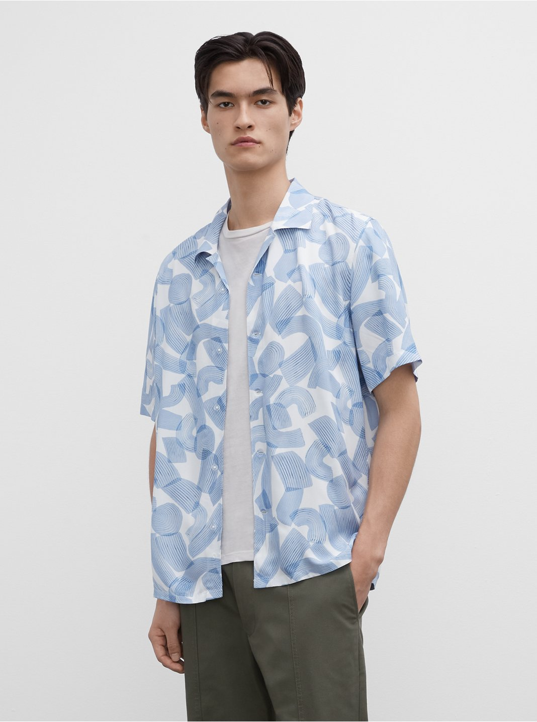 Short Sleeve Abstract Brush Shirt