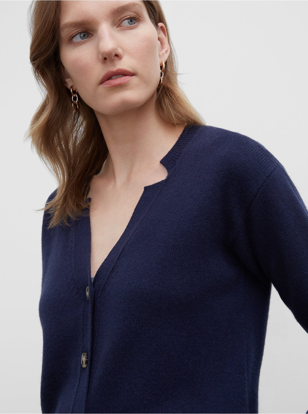 Cashmere Notch Neck Cardigan