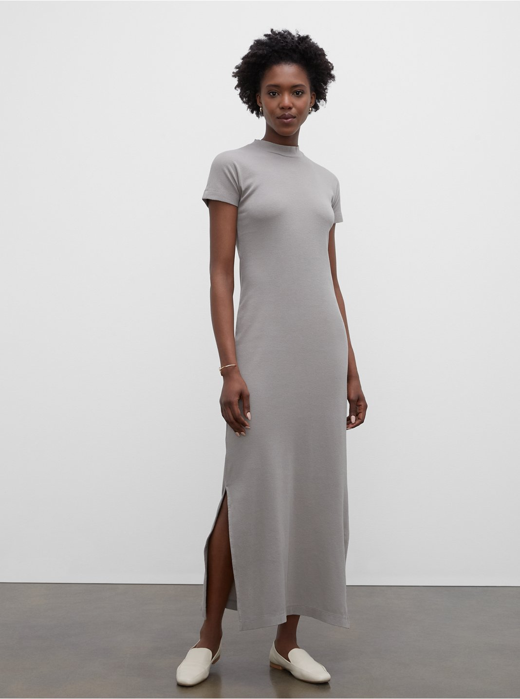 Tea Dyed Mockneck Rib Dress