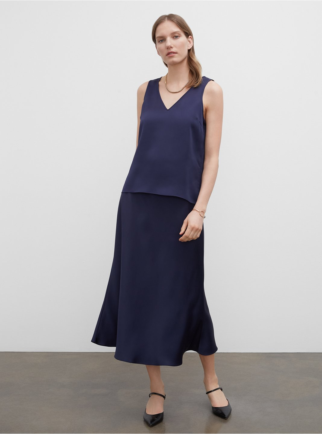 Rib Trim Slip Skirt
