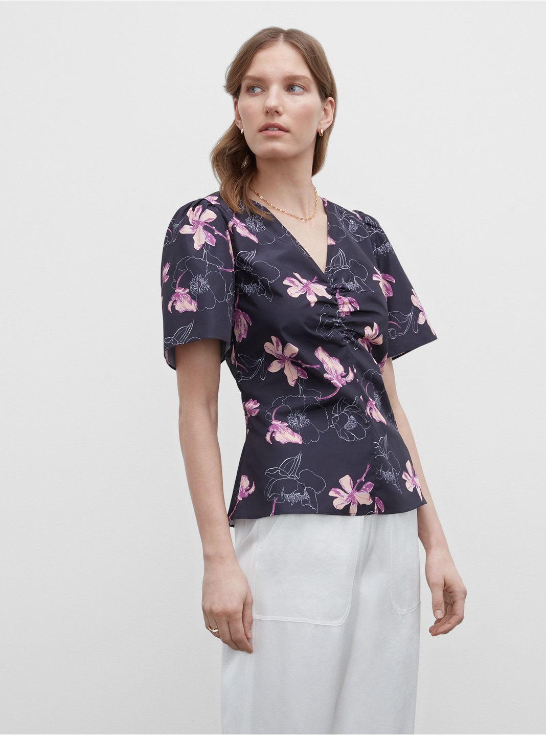 Floral Ruched Front Shirt