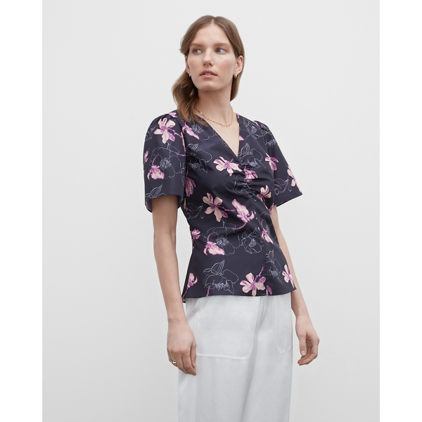 Club Monaco NAVY FLORAL FLORAL RUCHED FRONT SHIRT IN SIZE M