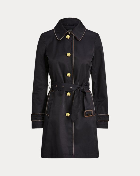 Faux-Leather-Trim Trench Coat