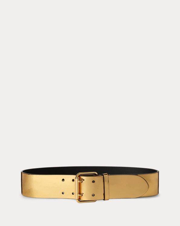 Metallic Leather Double-Prong Belt