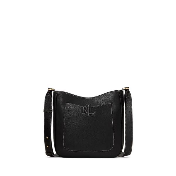 Lauren Ralph Lauren Pebbled Leather Cameryn Crossbody In Black/ecru