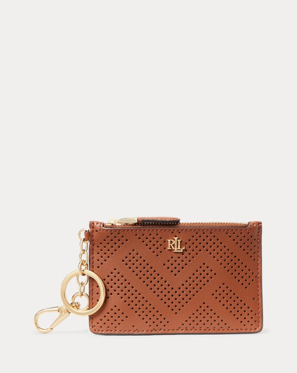 Perforated Leather Zip Card Case