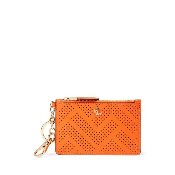 Lauren Ralph Lauren Perforated Leather Zip Card Case In Brown