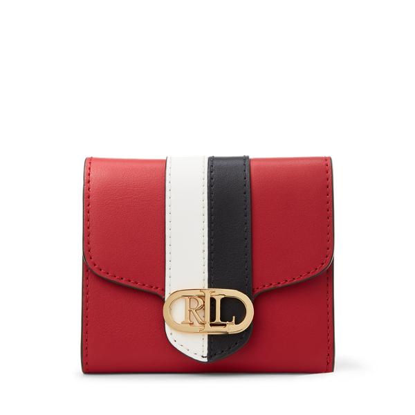 Lauren Ralph Lauren Pebbled Leather Compact Wallet In Red