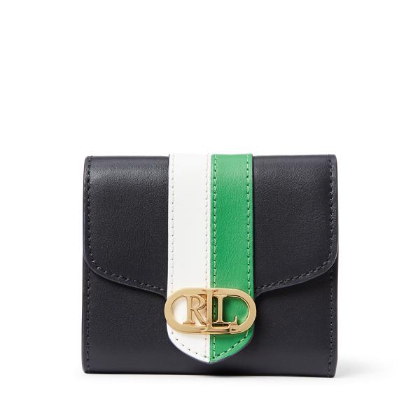 Lauren Ralph Lauren Pebbled Leather Compact Wallet In Black
