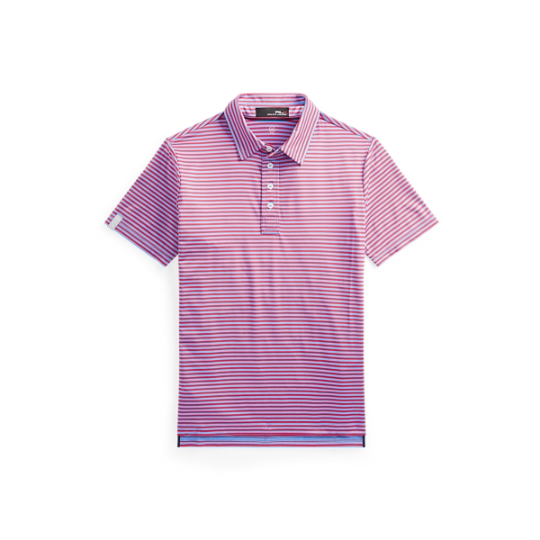 Polo Ralph Lauren Kids' Rlx Golf Performance Polo Shirt In Blue Lagoon/sunset Red