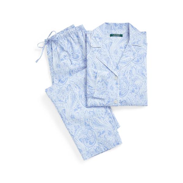로렌 랄프로렌 파자마 세트 Lauren Paisley Sateen Cotton Sleep Set,Blue Paisley