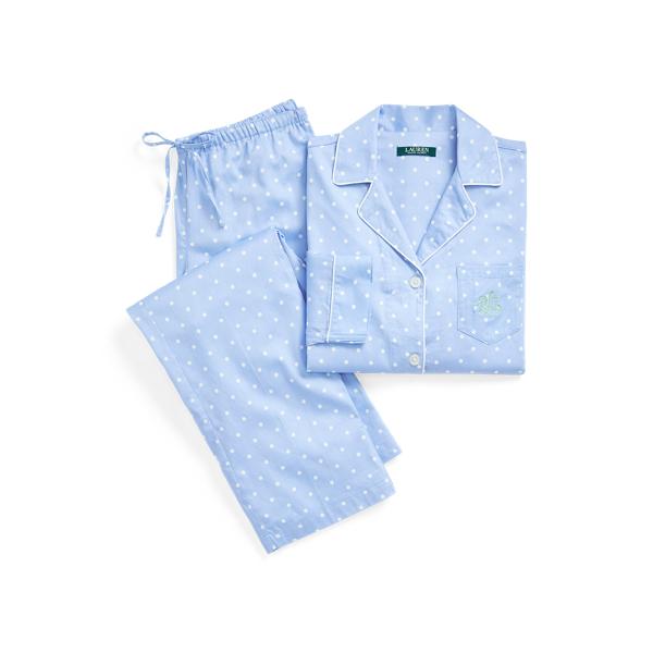 로렌 랄프로렌 파자마 세트 Lauren Polka Dot Sateen Cotton Sleep Set,Blue Dot