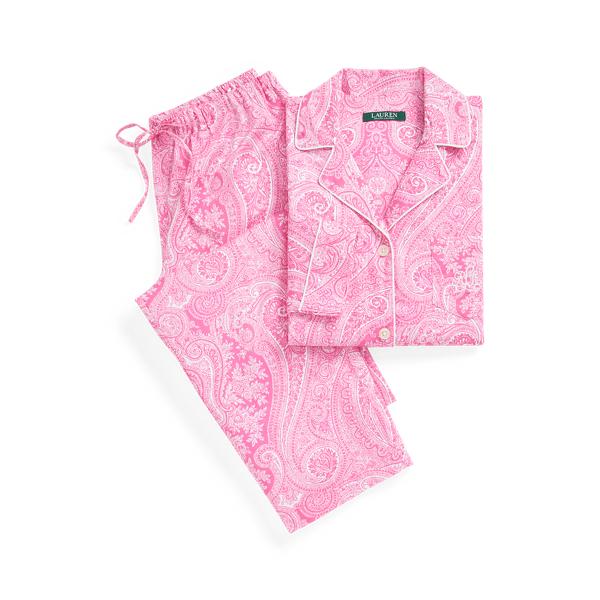 로렌 랄프로렌 파자마 세트 Lauren Paisley Sateen Cotton Sleep Set,Pink Paisley
