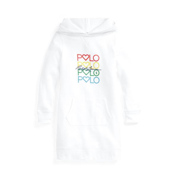 폴로 랄프로렌 Polo Ralph Lauren Logo Cotton Blend Fleece Hoodie Dress,White