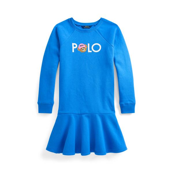 폴로 랄프로렌 Polo Ralph Lauren Polo Bear Logo Fleece Dress,Colby Blue